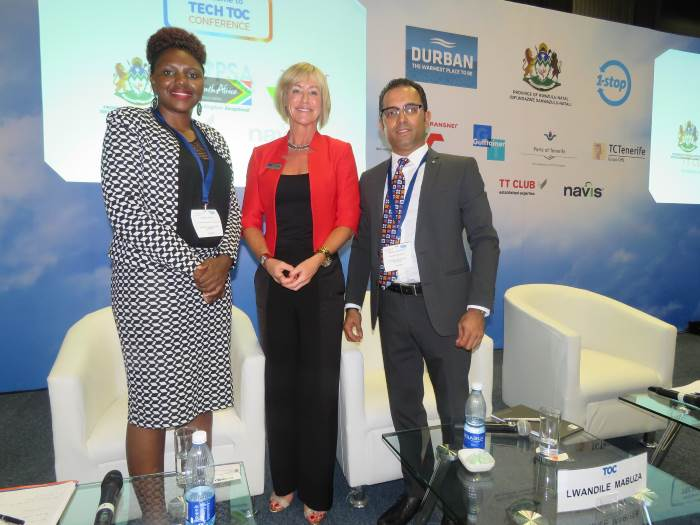 Lwandile Mabuza, Senior Operations Manager for Transnet National Ports Authority's (TNPA) Port of Durban's Point and Leisure Precinct, Rachael White, Conference Editor of TOC Events Worldwide and Hariesh Manaadiar, Editor of Shipping and Freight Resource, at the Tech TOC session at TOC Africa 2017, where Mabuza and Manaadiar shared their insights on Skills and Talent Development in African Ports. Featured in Africa PORTS & SHIPS maritime news