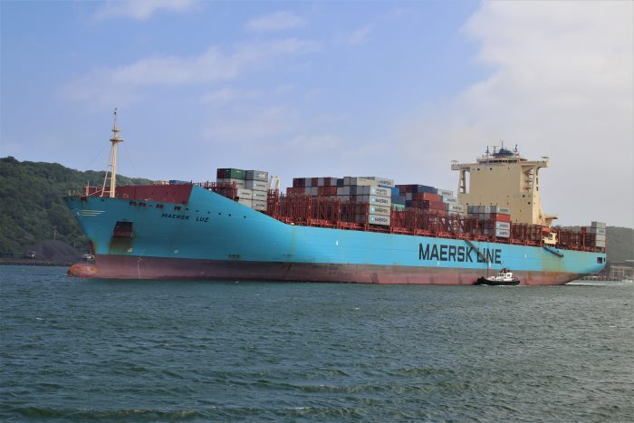 Maersk Luz departing from Durban. Picture: Keith Betts, featured in Africa PORTS & SHIPS maritime news
