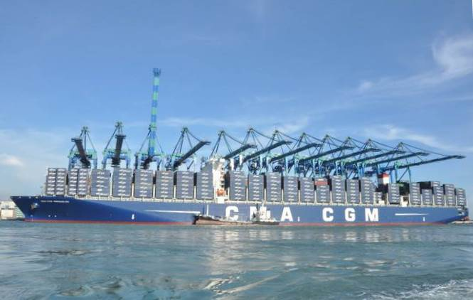 CMA CGM Kerguelen under the gantries at Port KLang. Even bigger 22,000-TEU ships are now on order. Featured in Africa PORTS & SHIPS maritime news
