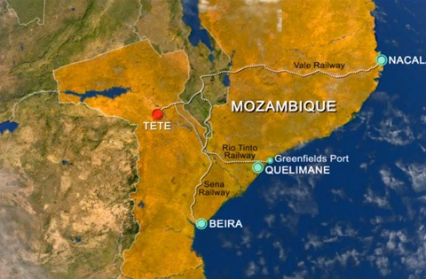 Mozambique railways connecting with the Moatize region, including projected lines, featured in Africa PORTS & SHIPS maritime news