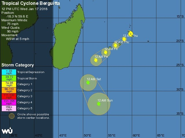 5-day route forecast for Cyclone Berguitta, featuring in Africa PORTS & SHIPS maritime news courtesy Wunderground