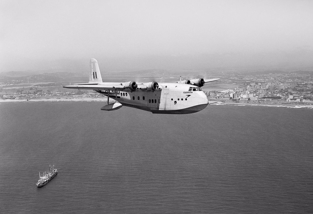 Short S23 C class flying boat 'Cleopatra' of the Imperial Airways flying off Durban during the late 1930s, featured in Africa PORTS & SHIPS maritime news