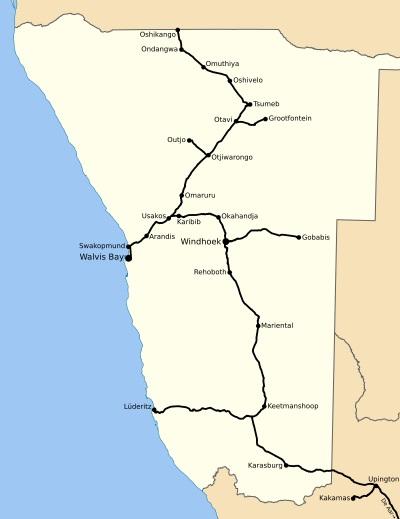 Namibia railway map, Wikipedia 400 - Africa Ports