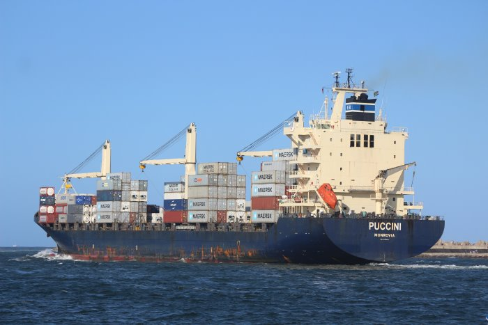 Puccine sailing from Durban for Port Louis. Picture by Keith Betts, featured in Africa PORTS & SHIPS maritime news