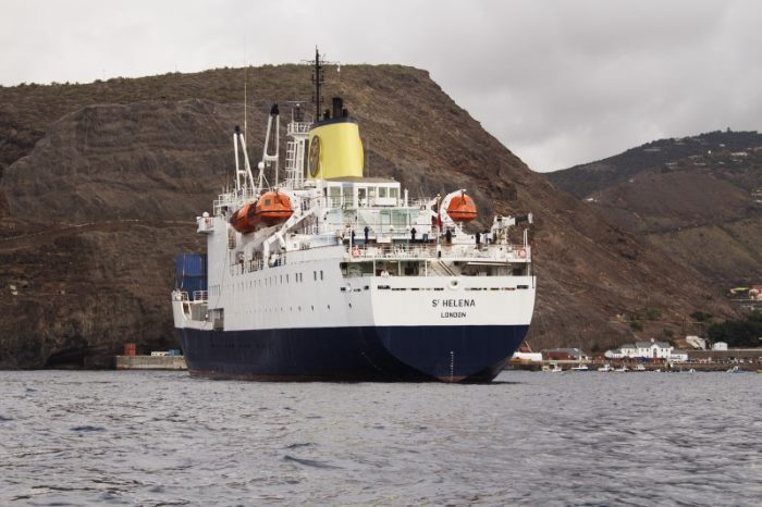 RMS St Henena off the island of St Helena. Picture : St Helena Tourism, featured in Africa PORTS & SHIPS maritime news