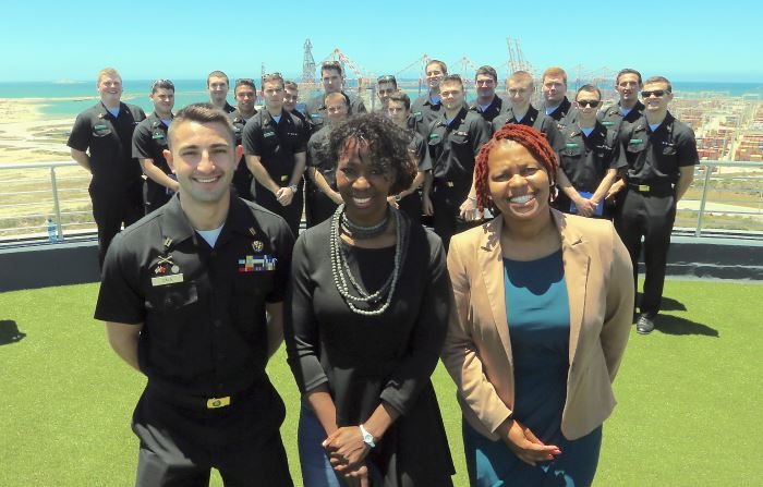 America meets Africa: Students from the Massachusetts Maritime Academy in the USA are currently in South Africa as part of an experiential learning programme. Pictured with the group at the Port of Ngqura in Nelson Mandela Bay are (front, from left) senior student Nick Zaia, the academy's South African-born Dr Portia Ndlovu and Transnet representative Ntshantsha Buyambo, featuring in Africa PORTS & SHIPS maritime news