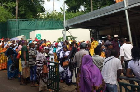 Comorians wait in line outside the office for foreign affairs in Mayotte. Picture: Edward Carver/IRIN, appearing in Africa PORTS & SHIPS maritime news