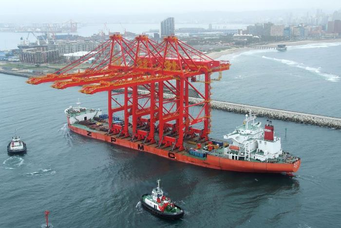 ZPMC ship-to-shore cranes arriving for Durban Container Terminal, not unlike those for Walvis Bay. picture: Roy Reed, featuring in Africa PORTS & SHIPS maritime news