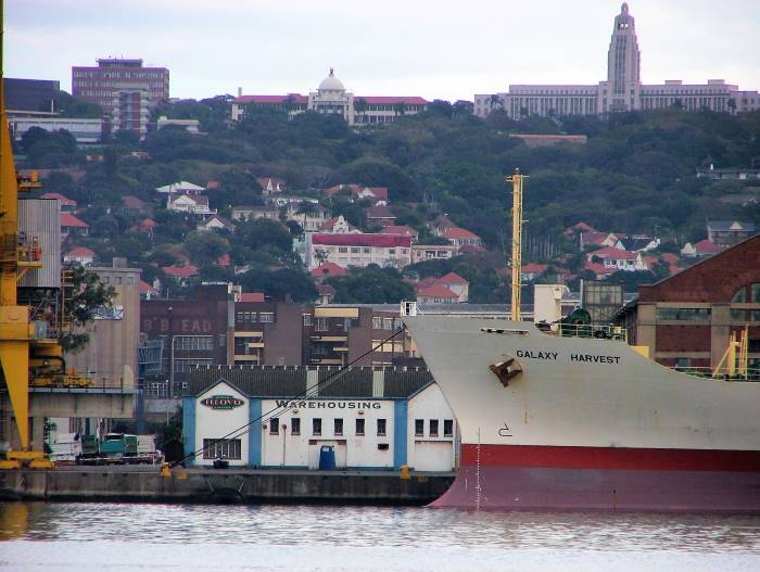 Durban Harbour scene, in the background is the University of KZN. Picture: Terry Hutson, featured in Africa PORTS & SHIPS maritime news
