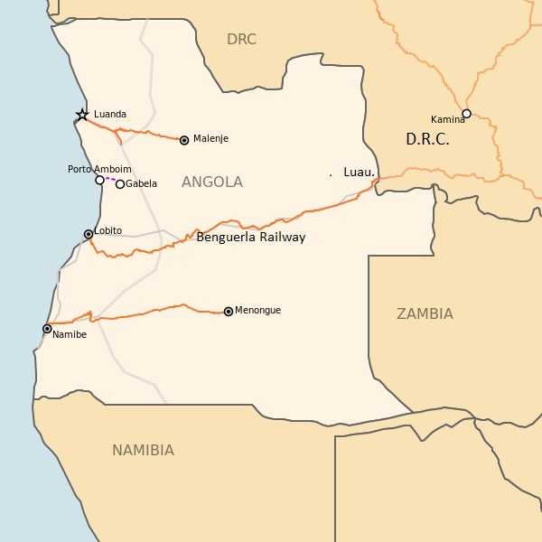 Angolan railway map, with Benguela Railway from Lobito to the DRC border, now back in service.