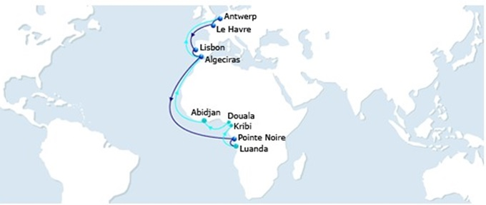 EURAF 5 service rotation, appearing in Africa PORTS & SHIPS maritime news