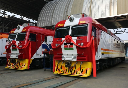 A pair of Kenya's freight train locomotives, featuring in Africa PORTS & SHIPS maritime news