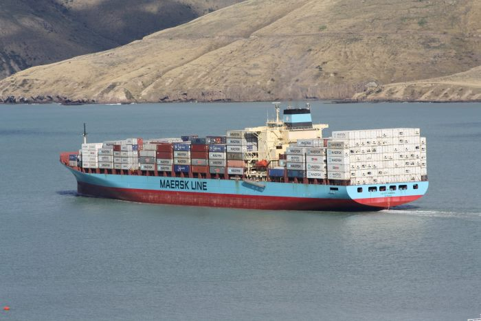 Laust Maersk at Lyttelton. Picture: Alan Calvert, featured in Africa PORTS & SHIPS maritime news