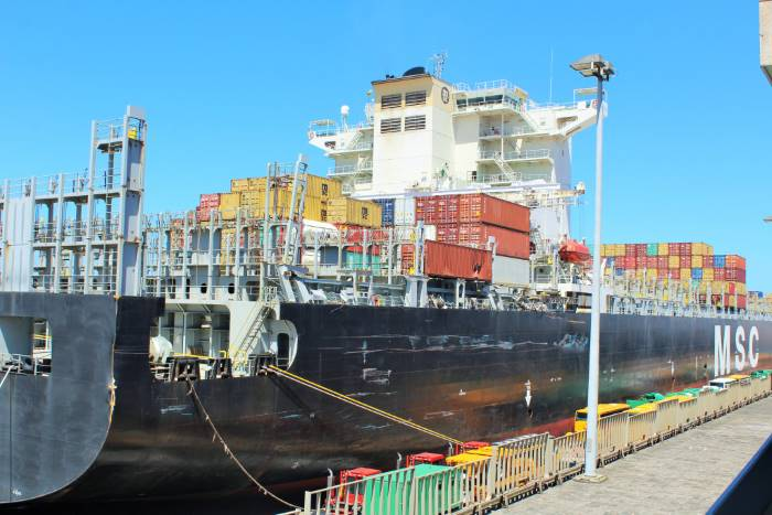 MSC ship damaged during big storm in Durban, October 2017. Picture: SAMSA, featured in Africa PORTS & SHIPS maritime news