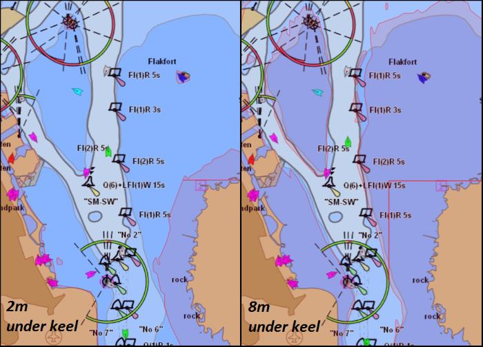 When mariners test the service the no-go zones will be highlighted in red to mark areas in which it is unsafe to navigate. Picture: EfficienSea © appearing in Africa PORTS & SHIPS maritime news