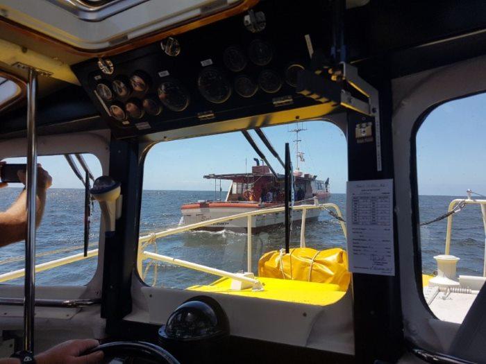 b8f9f6333c NSRI Port Elizabeth sea rescue craft Spirit of Toft approaches the fishing  long liner Suiram VH