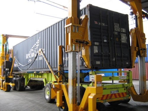 Mobicon mobile container handler, appearing in Africa PORTS & SHIPS maritime news