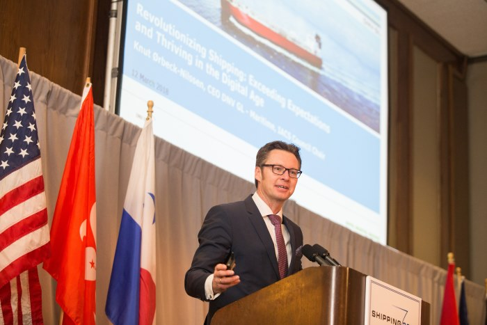 Knut Ørbeck-Nilssen, IACS Chairman and CEO of DNV GL – Maritime, speaking at CMA Shipping 2018, featured in Africa PORTS & SHIPS maritime news