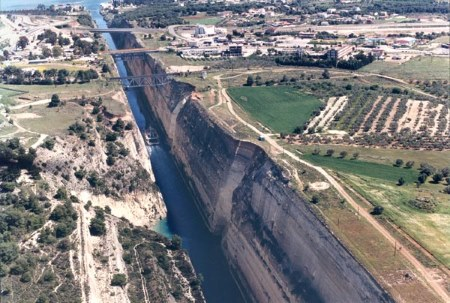 another view of this remarkable piece of engineering, the Corinth Canal.  Featured in Africa PORTS & SHIPS maritime news