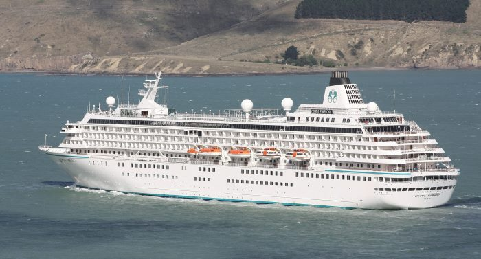 Crystal Symphony at Lyttelton, New Zealand, Feb 2018.  Picture:  Alan Calvert, appearing in Africa PORTS & SHIPS maritime news