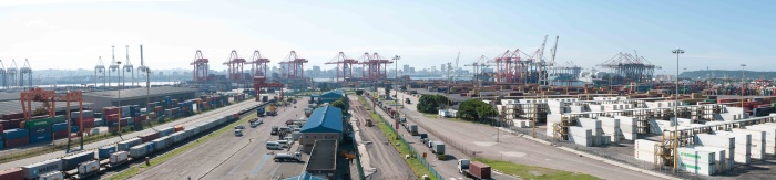 overview of Durban container terminals from the south, appearing in Africa PORTS & SHIPS maritime news