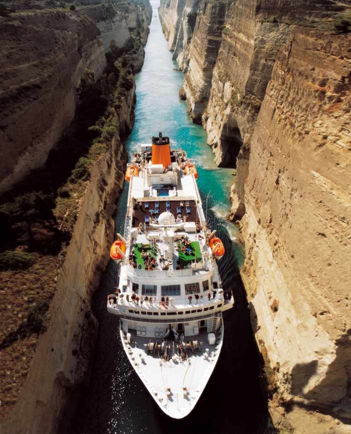 The cruise ship Bremen negotiating the incredibly narrow Corinth Canal, featured in Africa PORTS & SHIPS maritime news