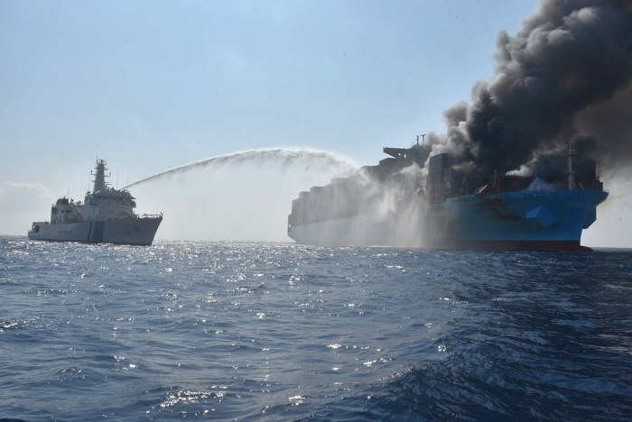 fire on Maersk Honam, appearing in Africa PORTS & SHIPS maritime news
