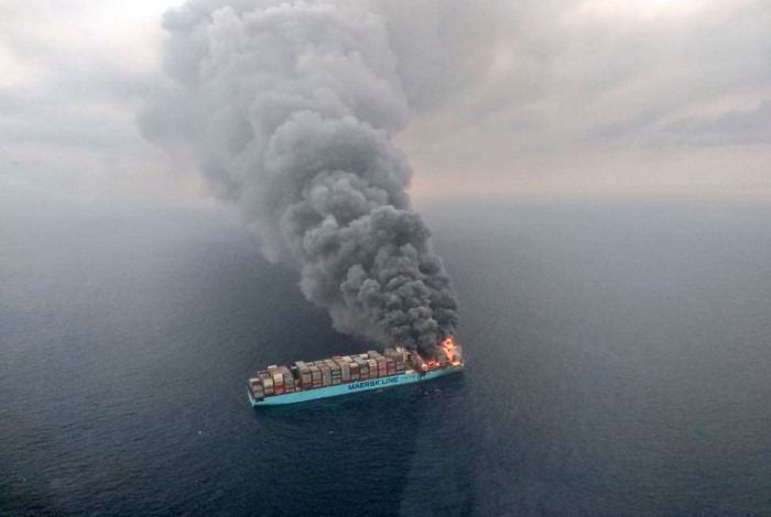 Maersk Honam on fire in the Arabian Sea, appearing in Africa PORTS & SHIPS maritime news