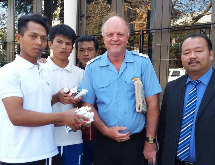 Chaplain Paul Richardson with Indonesian seafarers stranded in Durban, featured in Africa PORTS & SHIPS maritime news