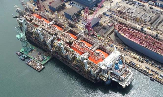 FLNG Hilli Episeyo being launched. Picture courtesy Keppel, featured in Africa PORTS & SHIPS maritime news