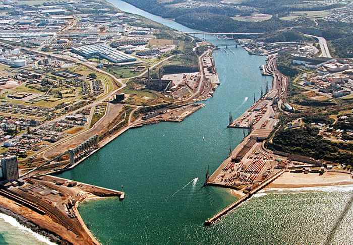 Port of East London on a quiet day, with nary a ship in sight., featuring in Africa PORTS & SHIPS maritime news