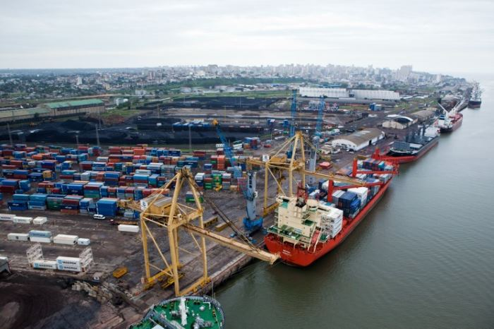 A section of the Maputo port from the air, appearing in Africa PORTS & SHIPS maritime news
