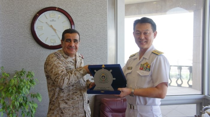 Rear Admiral Kajimoto with Rear Admiral Al Johni, Commander of the Western Fleet, from a story in Africa PORTS & SHIPS maritime news