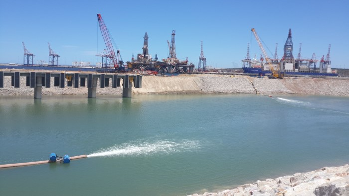 Ngqura tug basin under construction, from a story featured in Africa PORTS & SHIPS maritime news