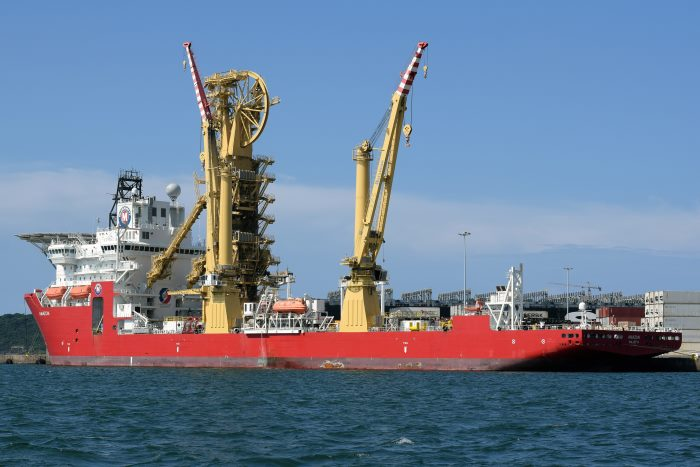 McDermott's pipelay and construction vessel Amazon in Durban in April/May 2018, appearing with a story in Africa PORTS & SHIPS maritime news. Picture: Trevor Jones