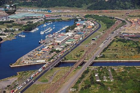 Durban's Bayhead Road, main thoroughfare to the container terminals and Island View, with Ambrose Park on the right. Picture by Steve McCurrach www.airserv.co.za from a story appearing in Africa PORTS & SHIPS maritime news