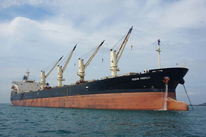 The UK registered bulk carrier Ocean Prefect. Photo taken from Report No 8/2018 kindly provided by MAIB. Crown Copyright 2018 ©, rported in an article appearing in Africa PORTS & SHIPS maritime news