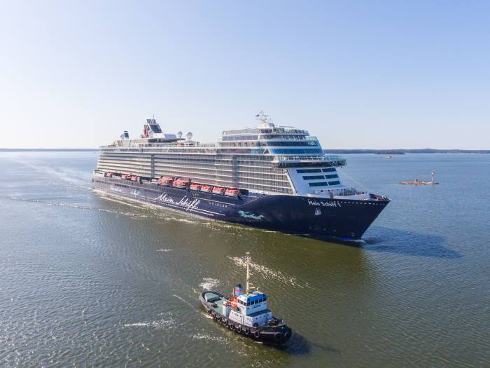 Mein Schiff 1 after launching at Meyer Turku in Finland, from a report appearing in Africa PORTS & SHIPS maritime news