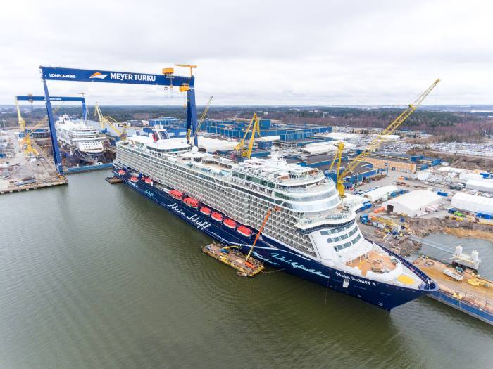 Mein Schiff 1 outside the Meyer Turku dry dock. Pictures courtesy Meyer Turku, from a report appearing in Africa PORTS & SHIPS maritime news