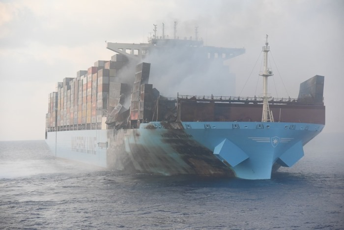 Maersk Honam after the blaze was put out - the fires continue to burn within some containers, from a story appearing in Africa PORTS & SHIPS maritime news