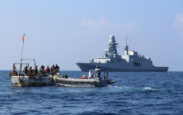 Operation Atalanta naval forces intercept suspect pirates in Gulf of Aden, from an article appearing with Africa PORTS & SHIPS maritime news