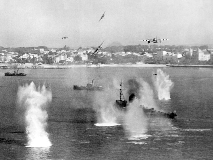 RAF 100 C Image: DDC-45163636 Image of de Haviland Mosquito FB.VIs of 248 Squadron attacking a German 'M' Class minesweeper and two trawler-type auxiliaries in the mouth of the Gironde River, off Royan, France, on 12 August 1944. Bombs can be seen straddling the vessel, which later blew up. Photo: MOD Crown Copyright 2018 © from a story appearing in Africa PORTS & SHIPS maritime news