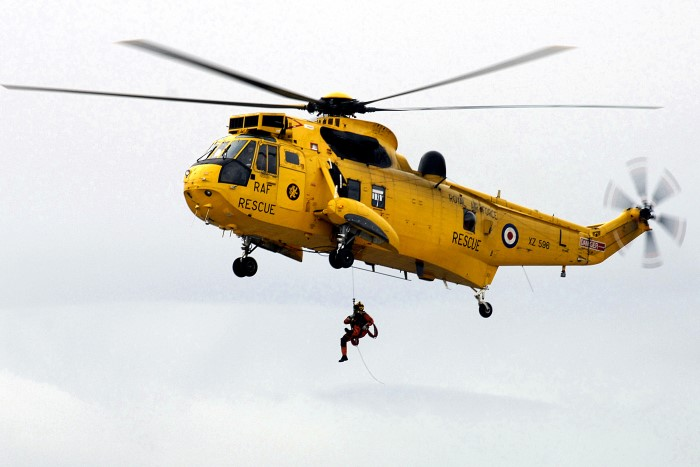 The crew of a Search and Rescue (SAR) Sea King helicopter at the Mount Pleasant Complex in the Falkland Islands. The Royal Air Force Search and Rescue Force (SARF or SAR Force) was the Royal Air Force organisation which provided around-the-clock aeronautica l search and rescue cover in the United Kingdom, Cyprus and the Falkland Islands. The Search and Rescue Force was established in 1986 from the helicopter elements of the RAF Marine Branch which was disbanded that year. The Force supported search and rescue over the United Kingdom until 4 October 2015 when the role was handed over to civilian contractor. Photo: MOD Crown Copyright 2018 © from a story appearing in Africa PORTS & SHIPS maritime news