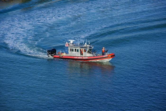 USCG patrol boat outside port, by Tony de Freitas, from a feature appearing in Africa PORTS & SHIPS maritime news