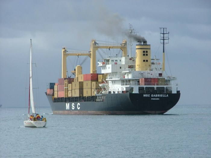 MSC ship off Durban, picture by Terry Hutson, appearing in Africa PORTS & SHIPS maritime news