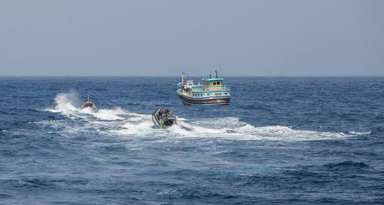 Australian navy intercepting dhow at sea for inspection of cargo, as reported in Africa PORTS & SHIPS maritime news