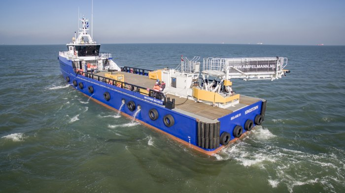 Aerial view of FCS 5009 Ampelmann L-type sea trial North sea, as appearing in a business report in Africa PORTS & SHIPS maritime news