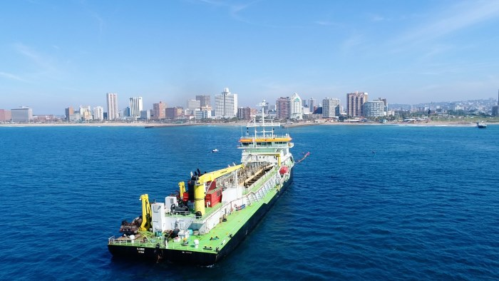 The dredger Ilembe off the port of Durban, from an article appearing in Africa PORTS & SHIPS maritime news. Picture: courtesy TNPA