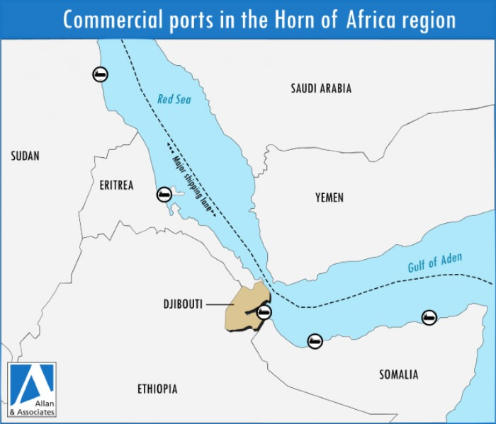Djibouti and adjacent countries, appearing in a news report in Africa PORTS & SHIPS maritime news