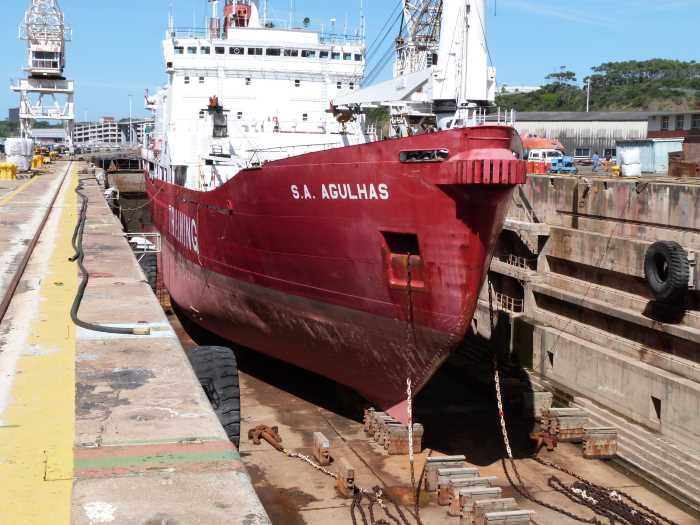 SA Agulhas in the East London dry dock, appearing in Africa PORTS & SHIPS maritime news